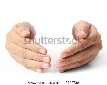Open palm hand gesture isolated on white background - stock photo