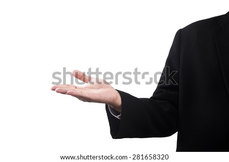 Open palm hand gesture of asian businessman hand isolated on white background - stock photo