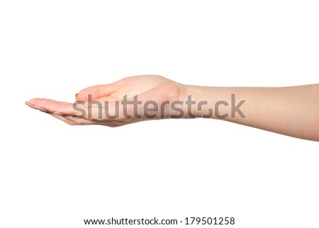 Open palm hand gesture of Female hand. Isolated on a  white background.