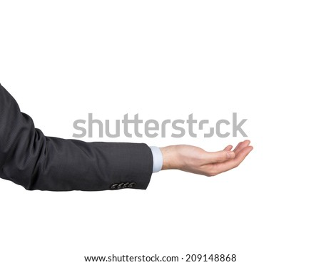 Open palm hand gesture of male hand in suit. - stock photo