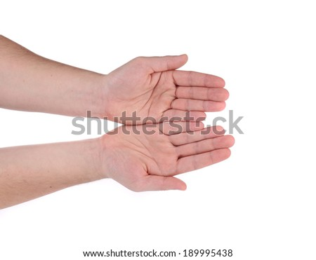 Open palm hand gesture of male hand. Isolated on a white background. - stock photo