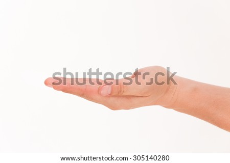 Open palm hand gesture of male hand isolated on white background. Hand holding something with space in blank for insert text or design. - stock photo