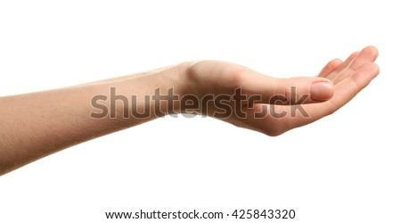 Open palm hand gesture on white background
