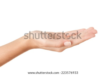 Open palm holding something invisible against pure white background.