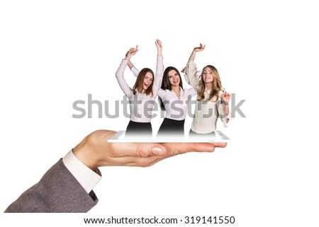 Open palm holds phone with girl on the white background. - stock photo