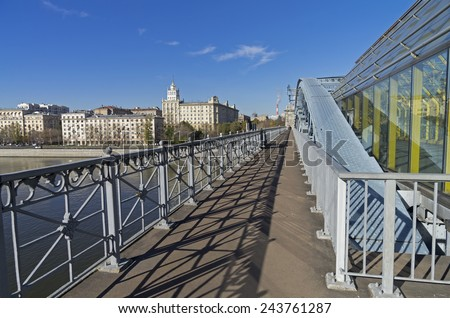 Open passage of a big footbridge. Moscow, Russia.