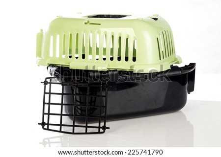 open pet carrier isolated on white background  - stock photo