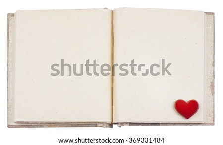 Open photo album for photo frames with red heart - stock photo