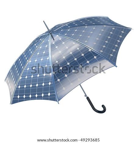 open photovoltaic umbrella stick concept - stock photo