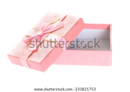 Open pink gift box isolated on white.