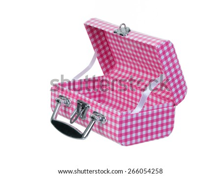 Open pink plaid lunch box isolated on white background - stock photo