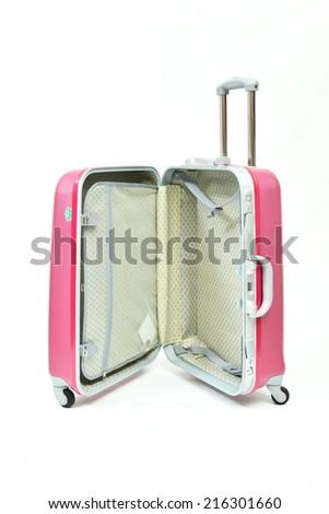 open pink suitcase isolated on white background - stock photo