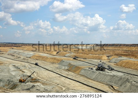 open pit coal mining industry - stock photo