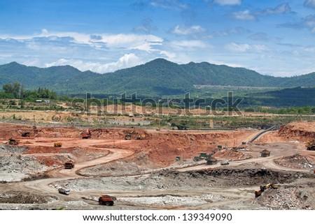 open pit lignite mine - stock photo