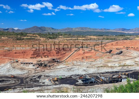 open pit lignite mine at mae-moh Lampang  Thailand - stock photo