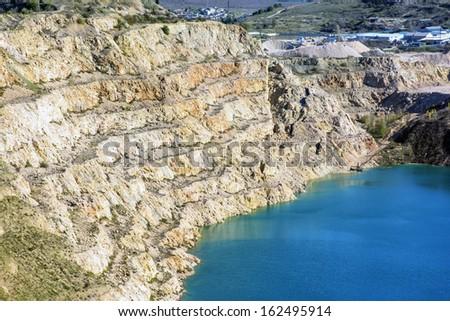 Open pit mine in Balaklava near Sevastopol city - stock photo