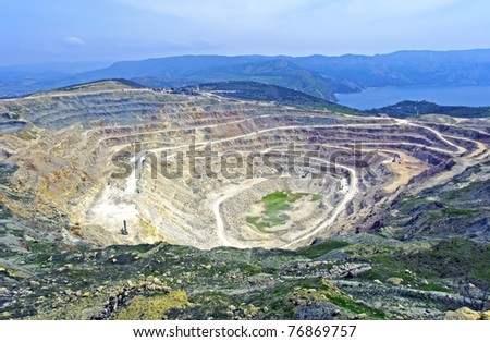 Open pit mine in Balaklava near Sevastopol city - stock photo