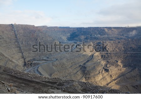 Open pit mine with ore conveyor