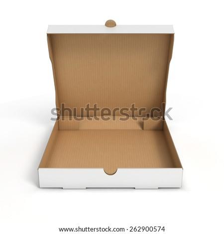 open pizza box - stock photo