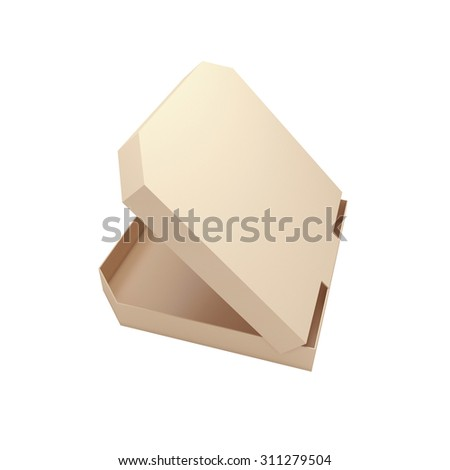 Open pizza box isolated at white background. 3d render illustration
