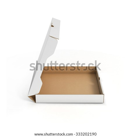 open pizza box side view - stock photo