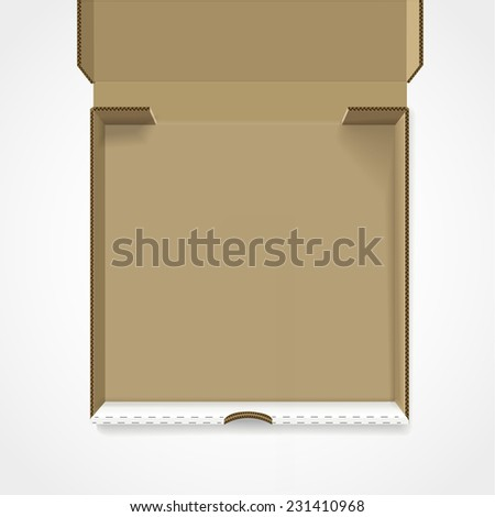 open pizza box template isolated on white background - stock photo