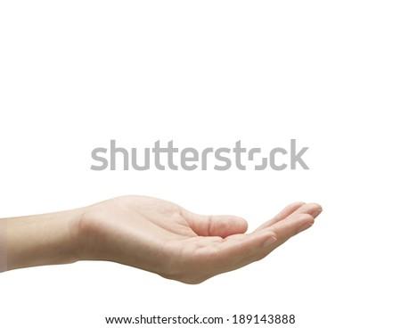 Open plam of female hand - stock photo