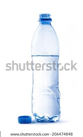 Open plastic bottle of water - stock photo