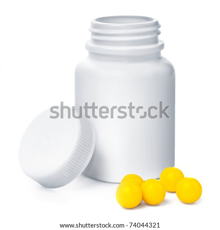 Open plastic medical container with yellow vitamins - stock photo
