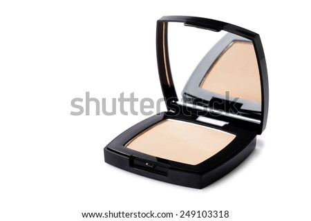 open  Powder Compact on white background