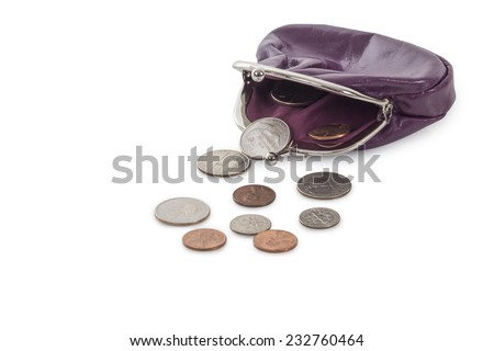 Open Purple leather purse with dollar coins isolated on white background