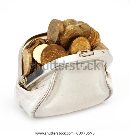 Open purse with gold coins - stock photo