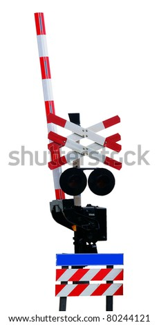 Open railroad crossing, isolated against background - stock photo