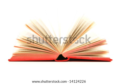 Open red book on white