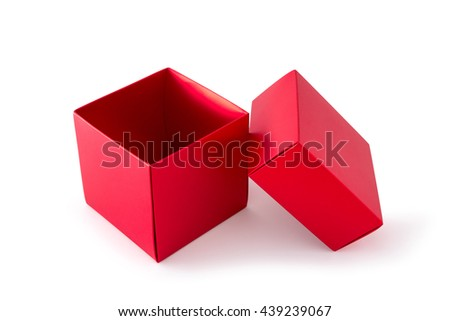 Open red box, empty box, isolated on white background, clipping path
