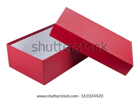 open red box for shoes isolated on white background - stock photo