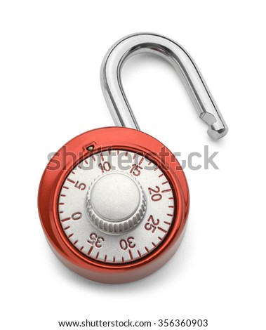 Open Red Combination Lock Isolated on a White Background.