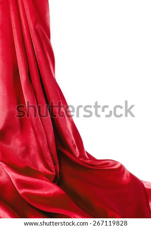 Open red curtains on a white background. - stock photo