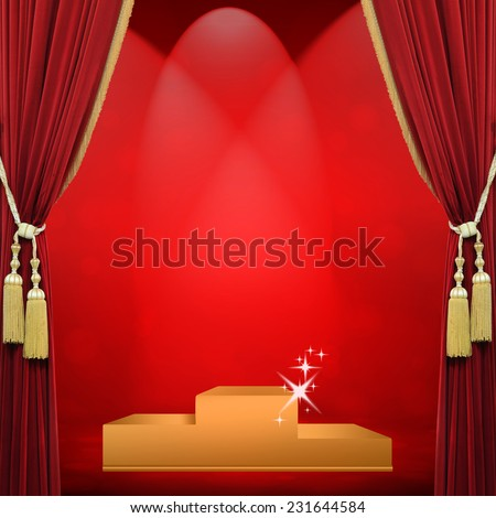 Open red curtains tied with golden red stage lights and the success which one. - stock photo