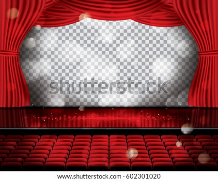 Open Red Curtains With Seats And Copy Space On Transparent Grid Theater Opera Or