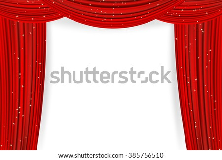Open red curtains with stars on white background. Theater or movie presentation or cinema award announcement with space for text. raster - stock photo