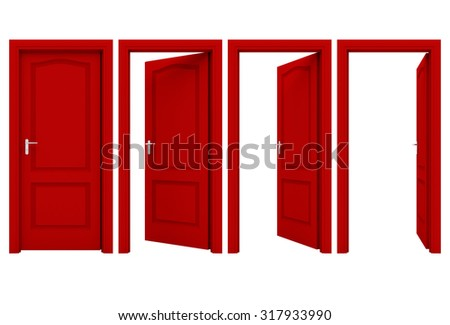 Open red door isolated on a white background - stock photo
