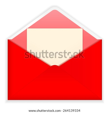 Open red envelope with paper  isolated on white background. Raster version