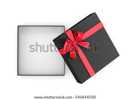 Open Red Black Gift Box Ribbon Stock Illustration 563485507 ...