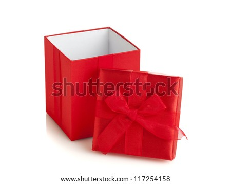 open red gift box, top with bow aside, on white background - stock photo