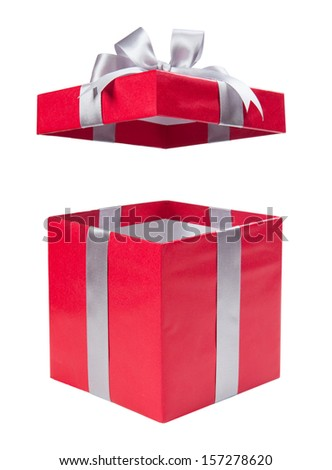 Open red gift box with a grey bow  - stock photo