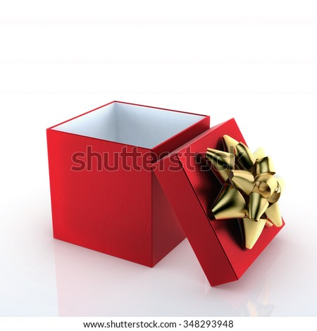 open red gift box with golden ribbon on white background 3d render