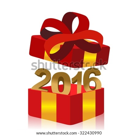 open red gift box with year 2016 inside - stock photo