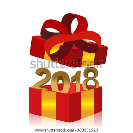open red gift box with year 2018 inside - stock photo