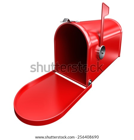 Open red mailbox. 3d image